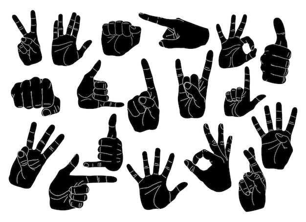 Gesty Ręczne Ustawione Premium Wektorów