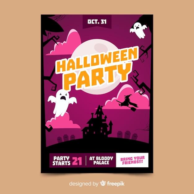 Ghost In The Night Halloween Party Flyer Darmowych Wektorów