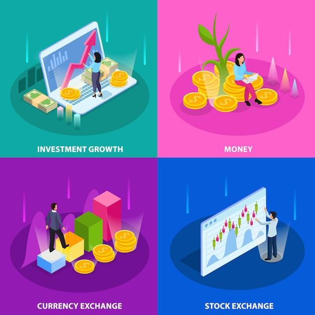 Giełdy Papierów Wartościowych Isometric Ikona Ustawiająca Z Inwestorską Wzrostową Pieniądze Walutą I Giełda Papierów Wartościowych Opisami Ilustracyjnymi Darmowych Wektorów