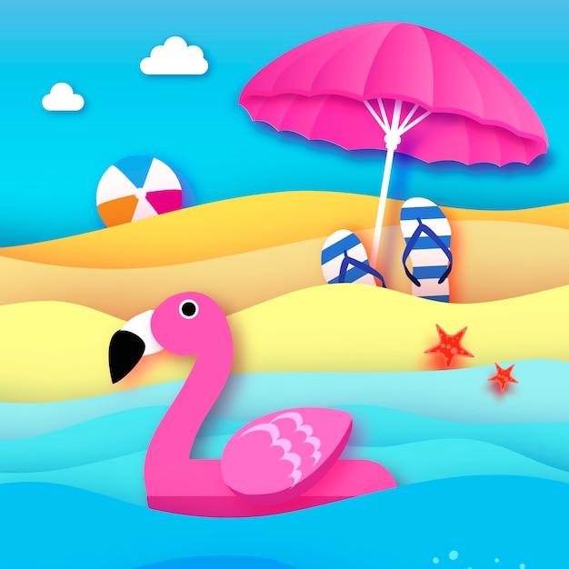 Gigantyczny Nadmuchiwany Różowy Flaming W Stylu Wycinanym Z Papieru Parasol Plażowy Origami Zabawka Do Pływania W Basenie Na Słonecznej Plaży Z Piaskiem I Krystalicznie Czystą Wodą Morską Flipflop Beachball Letnie Wakacje Premium Wektorów