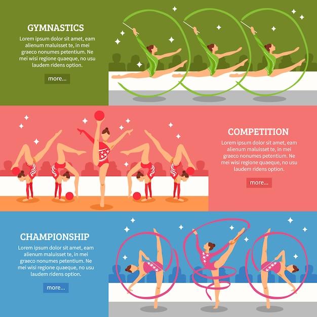 Gimnastyka Artystyczna Poziome Banery Darmowych Wektorów