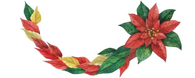 Girlanda Bożonarodzeniowa Poinsettia Premium Wektorów
