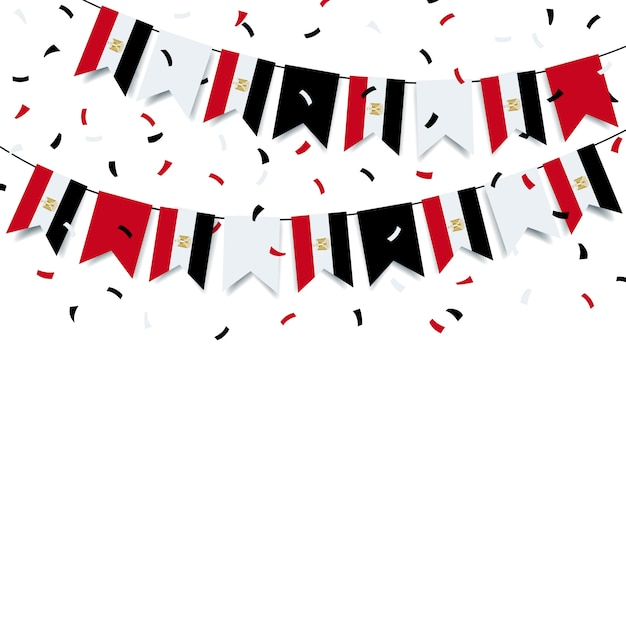 Girlanda Z Egipską Flagą Premium Wektorów