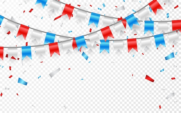 Girlandy Z Czerwono-biało-niebieskich Flag. Konfetti Foliowe W Kolorze Niebieskim, Białym I Czerwonym. Premium Wektorów