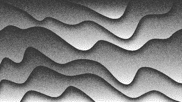 Gładkie Płynne Zakrzywione Linie W Stylu Retro Dotwork 3d Abstrakcyjne Tło. Ręcznie Robiona Kropkowana Grawerowana Tekstura Premium Wektorów