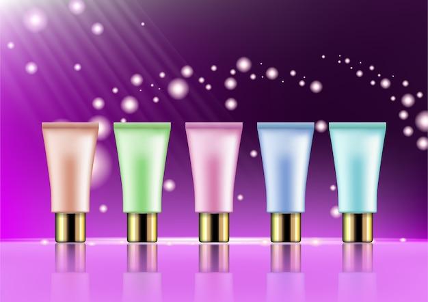 Glamorous Zestaw Tubek Kosmetycznych O Błyszczących Efektach Premium Wektorów