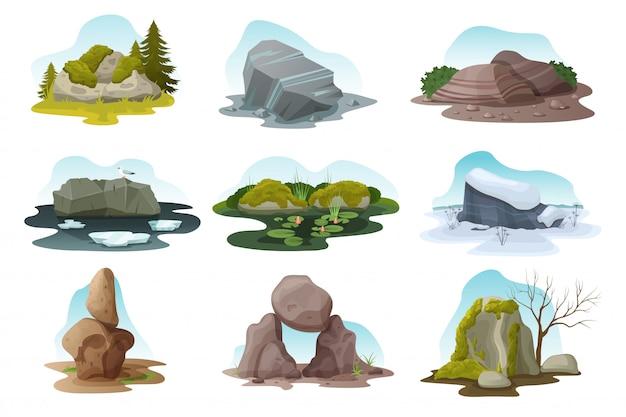 Głaz I Kamień Na Białym Tle Zestaw Ilustracji, Stos Kreskówka Głazów We Wszystkich Porach Natury Premium Wektorów