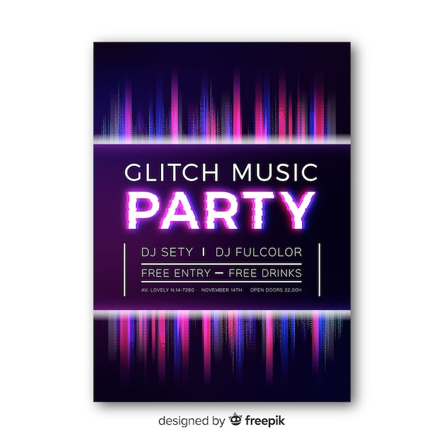 Glitch Festiwal Muzyczny Plakat Szablon Darmowych Wektorów