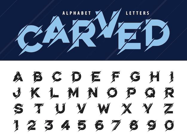 Glitch litery alfabetu nowoczesne, grunge i rzeźbione liniowe stylizowane zaokrąglone czcionki Premium Wektorów