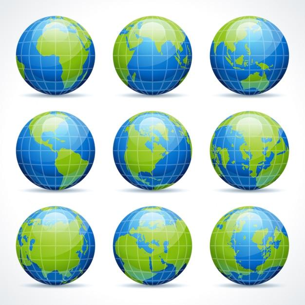 Glob ikony ziemi zestaw elementów projektu do projektowania infografiki. Premium Wektorów
