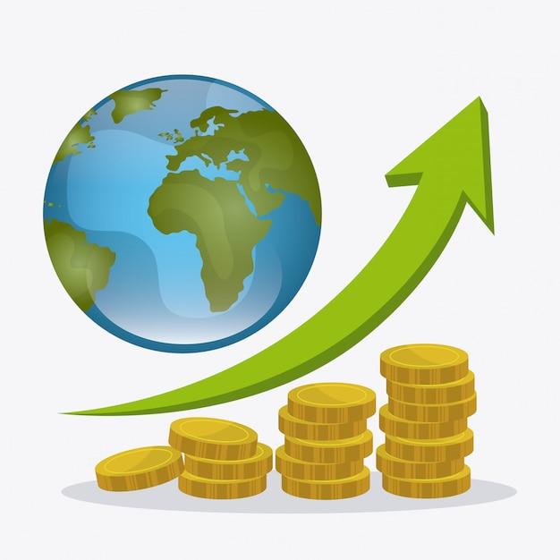 Globalna gospodarka, pieniądze i projektowanie biznesowe. Darmowych Wektorów