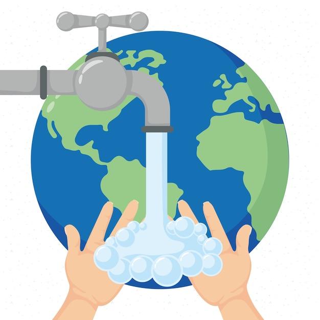 Globalna Kampania Dnia Mycia Rąk Obejmująca Planetę Ziemię I Projekt Ilustracji Z Kranu Premium Wektorów