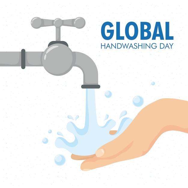 Globalna Kampania Z Napisami Na Dzień Mycia Rąk Z Projektowaniem Ilustracji Rąk I Kranu Premium Wektorów