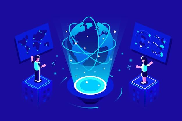 Globalna Komunikacja. Projekt Sieci Połączeń Globalnych. Koncepcja Sieci Społecznościowej. Ludzie Się łączą Premium Wektorów