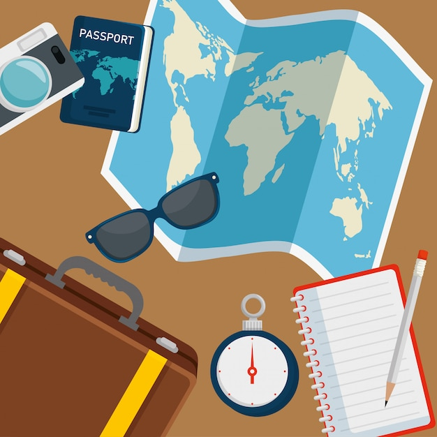 Globalna mapa z okularami przeciwsłonecznymi i paszportem ravel Darmowych Wektorów