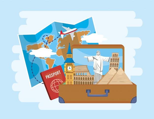Globalna mapa z samolotem i teczką z paszportem Premium Wektorów