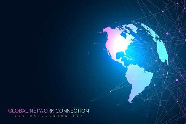 Globalna Sieć Z Ilustracją Mapy świata Premium Wektorów