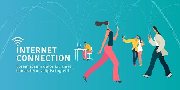 Globalne Połączenie Internetowe I Ilustracja Koncepcja Nowoczesnych Ludzi, Baner. Premium Wektorów