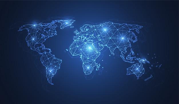 Globalne Połączenie Sieciowe. Kompozycja Punktu I Linii Na Mapie świata Premium Wektorów