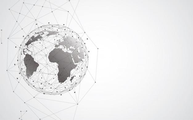 Globalne Połączenie Sieciowe. Koncepcja Składu Punktu I Linii Na Mapie świata Premium Wektorów