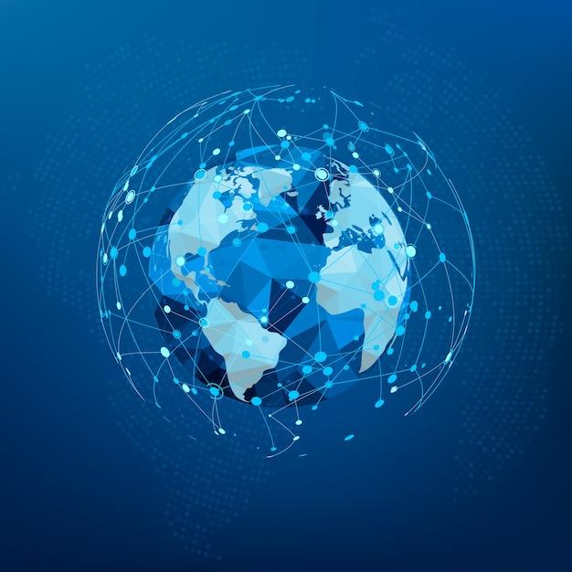 Globalne Połączenie Sieciowe. Mapa świata Wielokąta. Premium Wektorów