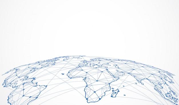 Globalne Połączenie Sieciowe. Punkt Na Mapie świata Premium Wektorów