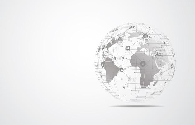 Globalne Połączenie Sieciowe. Skład Punktów I Linii Na Mapie świata Premium Wektorów
