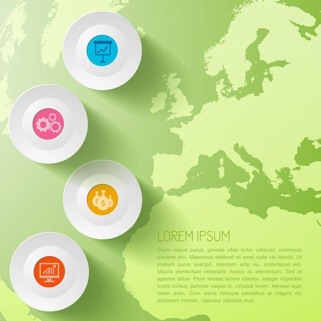 Globalny Biznes Plansza Szablon Z Kręgami I Mapa świata Darmowych Wektorów