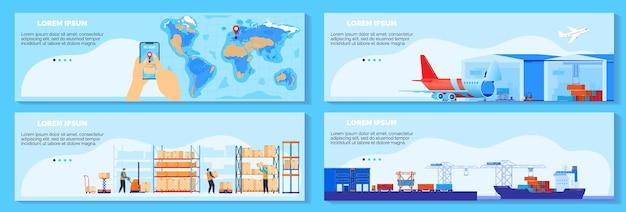 Globalny łańcuch Dostaw, Ilustracji Wektorowych Usługi Dostawy Logistycznej. Kreskówka Płaska Infografika Kolekcja Transparentu ładunku Z Zarządzaniem Dostawami Na Całym świecie, Wysyłką Statkiem, Zestawem Koncepcji Lotniczych Premium Wektorów