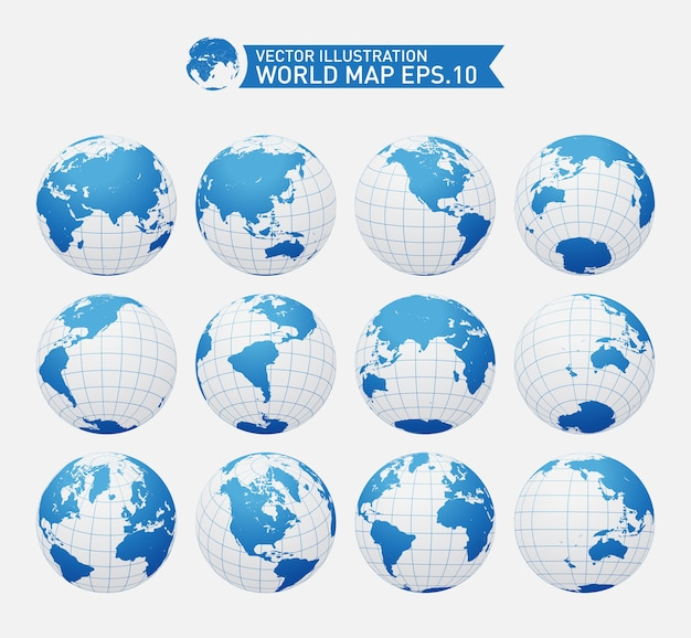 Globusy Ukazujące Ziemię Ze Wszystkimi Kontynentami Premium Wektorów