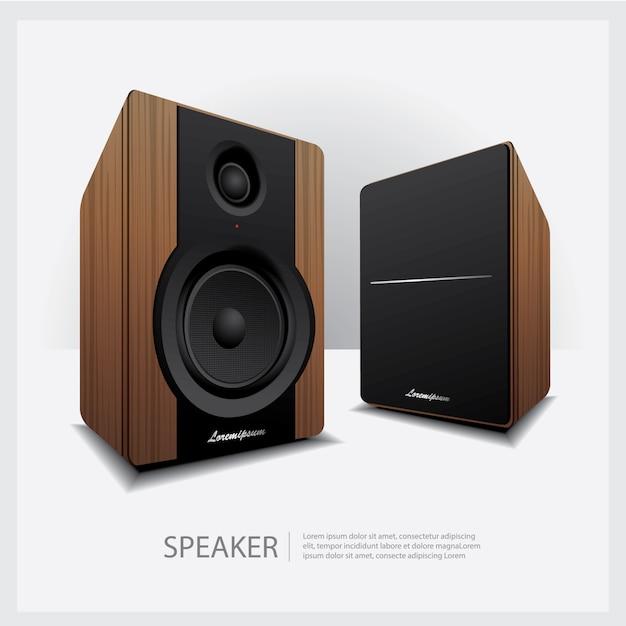 Głośniki na białym tle ilustracji wektorowych Premium Wektorów