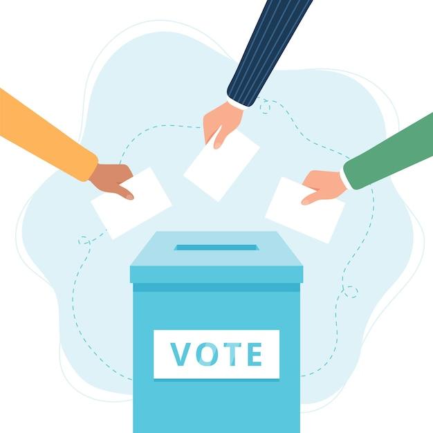 Głosuj Ilustracja Urny Premium Wektorów