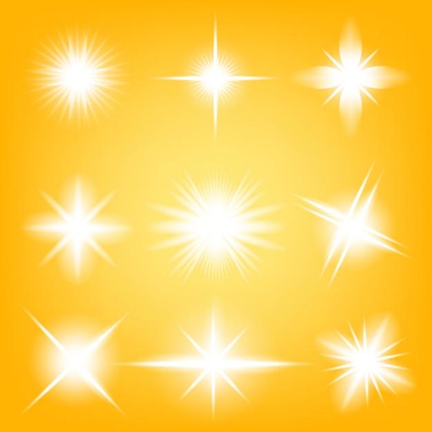Glow light effect gwiazdki wybucha iskierkami. Premium Wektorów