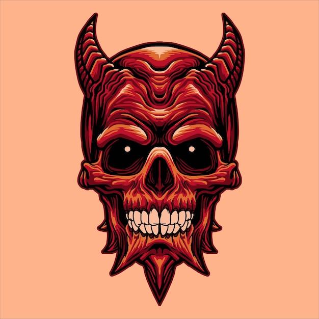 Głowa Czaszki Diabła Premium Wektorów