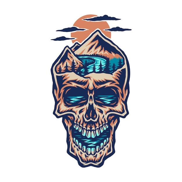 Głowa Czaszki, Ręcznie Rysowana Linia W Kolorze Cyfrowym Premium Wektorów