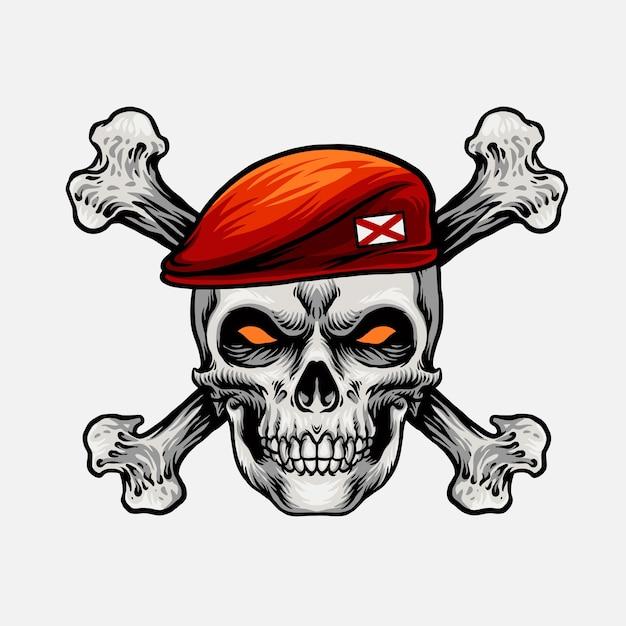 Głowa Czaszki Z Czerwoną Czapką I Krzyżową Kością Premium Wektorów