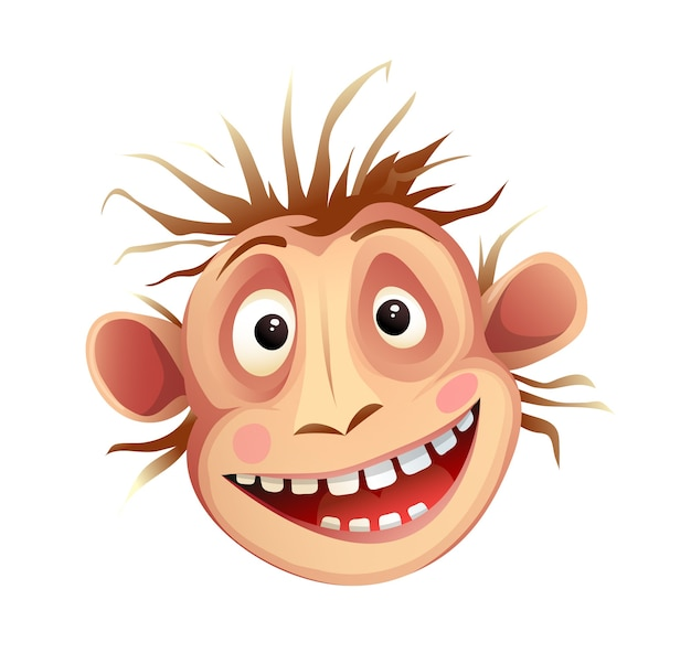 Głowa Małpiego Szympansa, Szalenie Naśladująca Wyraz Twarzy. Funky Szympans Zwierzę Głowa Maskotka Na Białym Tle, Kreskówka Dla Dzieci. Premium Wektorów