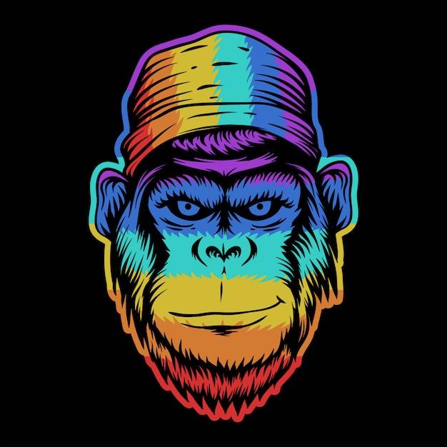 Głowa Małpy Uśmiech Kolorowy Ilustracja Premium Wektorów