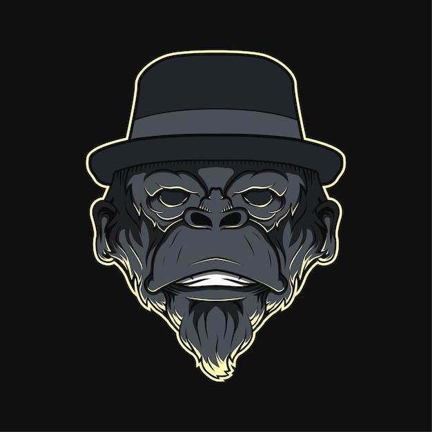 Głowa Maskotki Małpy Premium Wektorów