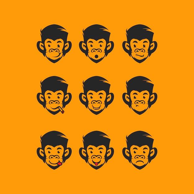 Głowa monkey logo Premium Wektorów