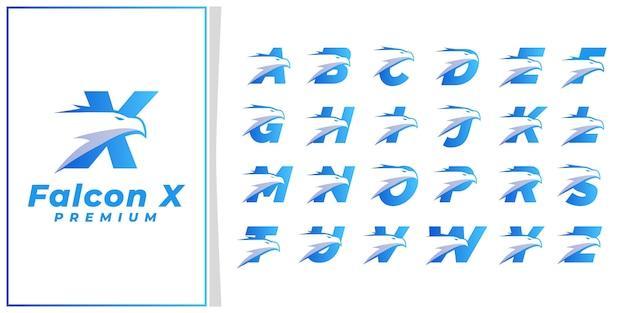 Głowa Orła Pierwsza Litera Logo Premium Blue Silver Premium Wektorów