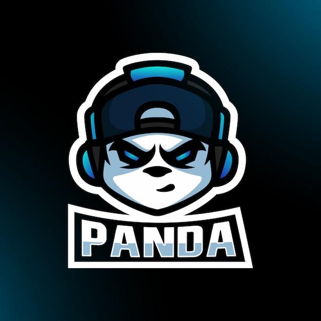 Głowa Pandy Rozgniewana Słuchawkami Czapka Snapback Czapka Gaming Esport Youtuber Logo Maskotki Premium Wektorów