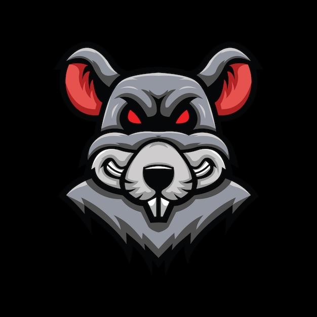 Głowa Szczura Ilustracja Na Czarnym Tle Premium Wektorów