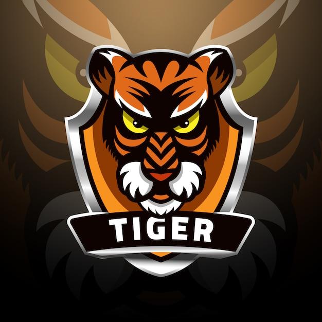 Głowa Tygrysa Na Tarczy Esport Logo Premium Wektorów