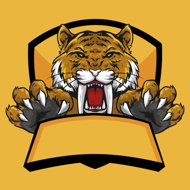 Głowa Tygrysa Sabertooth Z Pazurami I Transparent Godło Logo Maskotka Premium Wektorów