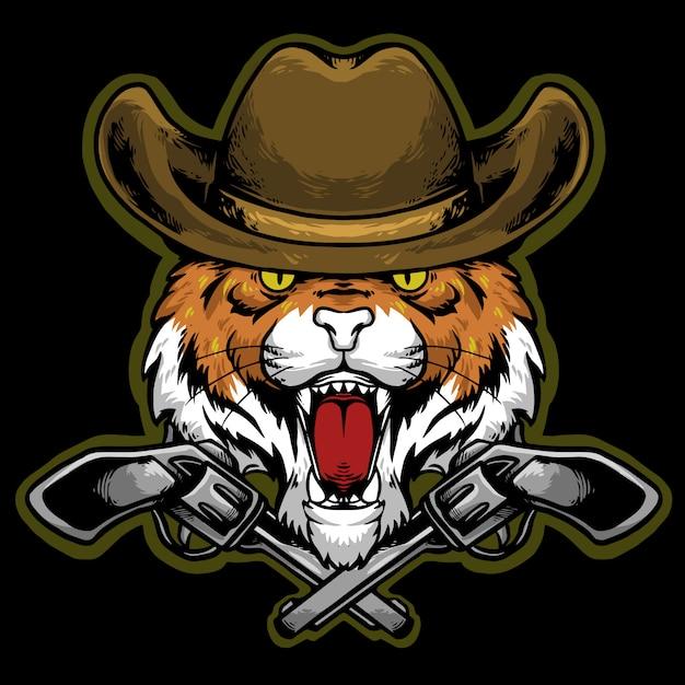 Głowa Tygrysa Z Kowbojskim Kapeluszem I Maskotką Z Logo Pistoletu Premium Wektorów