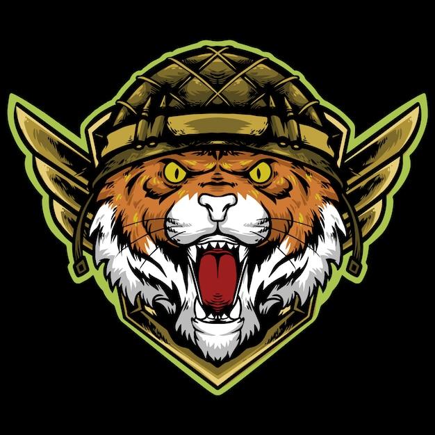 Głowa Tygrysa Z Logo Maskotki Kasku Piechoty Premium Wektorów