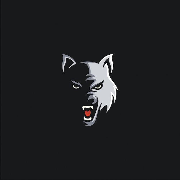 Głowa wilka projekt ilustracji Premium Wektorów