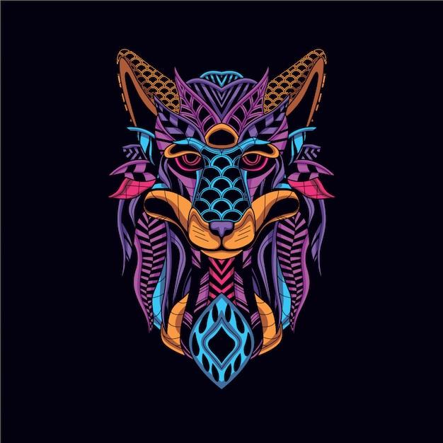 Głowa wilka z neonowego koloru dekoracyjnego Premium Wektorów