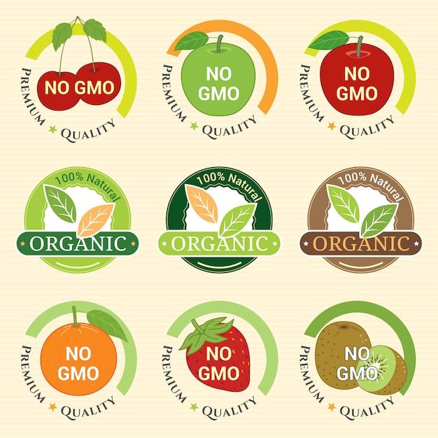 Gmo Bez Gmo I Gwarancja Ekologiczna Etykieta Emblemat Odznaki Dla Owoców Kiwi Kiwi Pomarańczowa Wiśnia Jabłkowa Premium Wektorów
